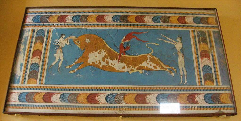 Knossos palace inside bull leaping fresco Minoan Crete.JPG