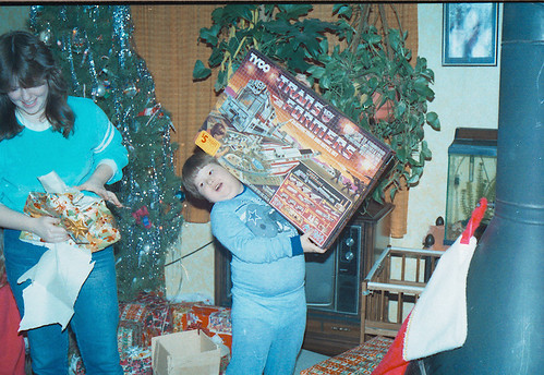 Young Kranix opening the Transformers Tyco train set on Christmas!