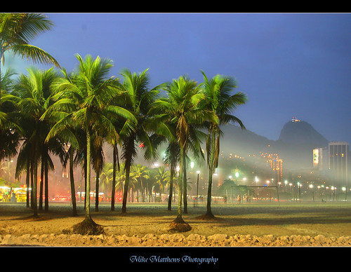 Sugar loaf at night from Copacabana
