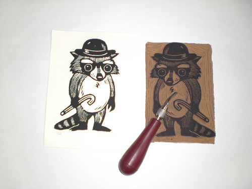 Formal Raccoon Linocut