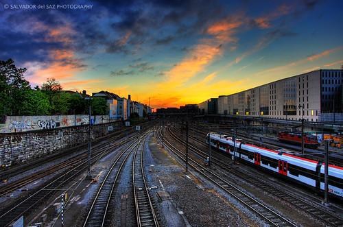 sunset sky canon eos schweiz suisse dusk tracks rail trains basel locomotive svizzera railyard 1022mm hdr highdynamicrange 1022 efs1022mm digitalblending swuitzerland 40d lovemyflickrfriends salvadordelsaz salvadelsaz ylihlm lovemy1022lenses
