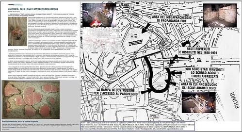 """ROME - THE DOMUS OF AGRIPPINA ON THE GIANICOLO: THE DISCOVERY AND CONTROVERSEY (1999-2008).""""Gianicolo, ecco i nuovi affreschi della domus."""" LA REPUBBLICA (05.07.2008)."""