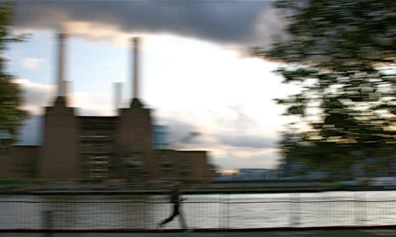 running past Battersea Power Station