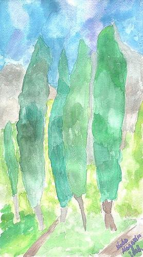 Omiški jablani - akvarel by XVII iz Splita