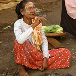 Burmese Old Woman Smoking - Rangoon, Burma (Yangon, Myanmar)