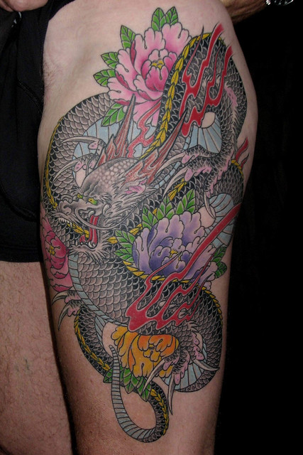 Dragon and Peony tattoo done at Avalon Tattoo II