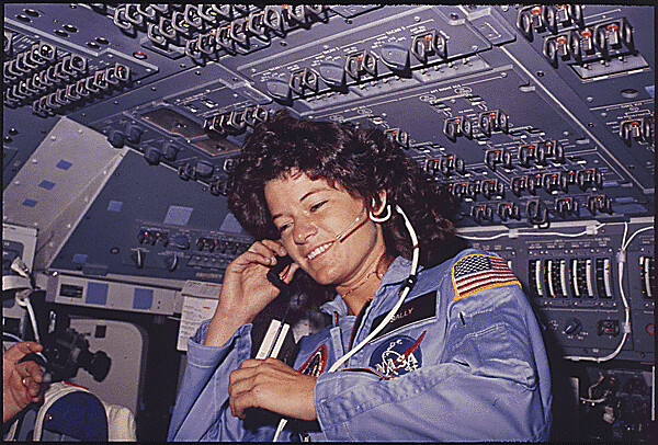 [Sally Ride] Americas first woman astronaut communitcates with ground controllers from the flight deck during the six day mission of the Challenger. National Aeronautics and Space Administration., 06/18/1983 - 06/24/1983