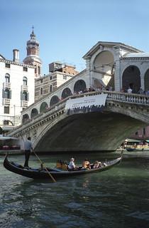 Image of Rialto Bridge near Venice. 2001 bridge venice italy canal gondola venezia rialto june2001 faved myphotoseverywhere