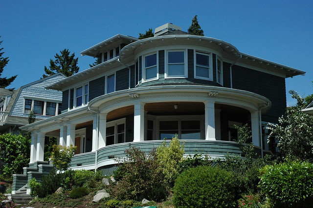 Rotunda porch house, view windows, teal gray and white ...