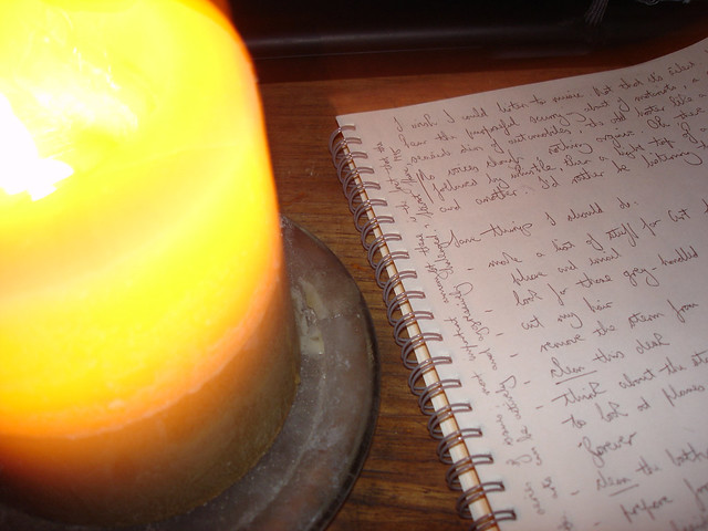 Sean O'Toole's notes for the day, by candlelight