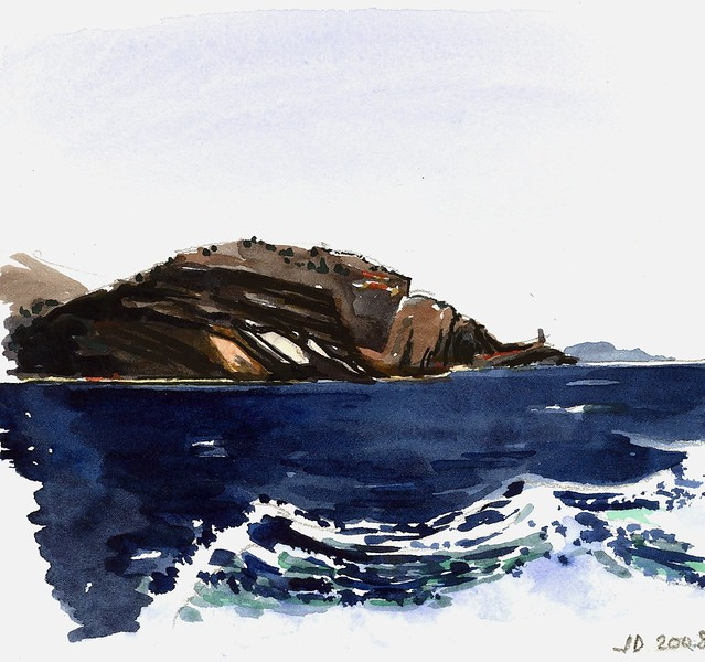 en mer vers Bonifacio Corse (aquarelle)