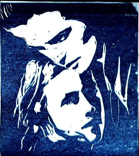 Bella and edward from twilight linoleum carving flickr