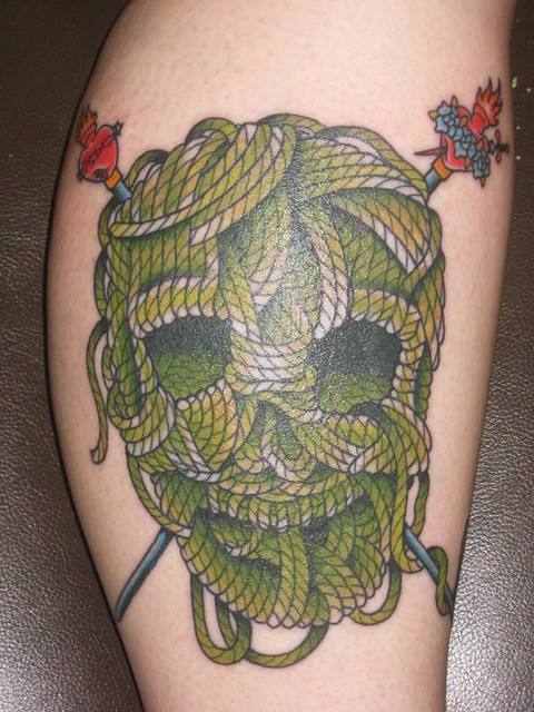 Knitting Related Tattoos : Knitting skull and crossbones tattoo knithacker