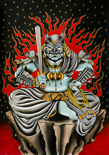 Samurai Bat-Man Tattoo Flash Watercolor Painting