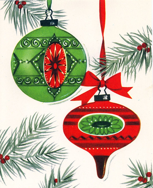 Vintage ornaments christmas card flickr photo sharing for What to do with old christmas ornaments