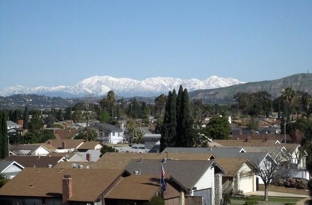 Snowy San Gabriels above Irvine