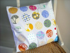 Appliqued Geometric Circles Pillow