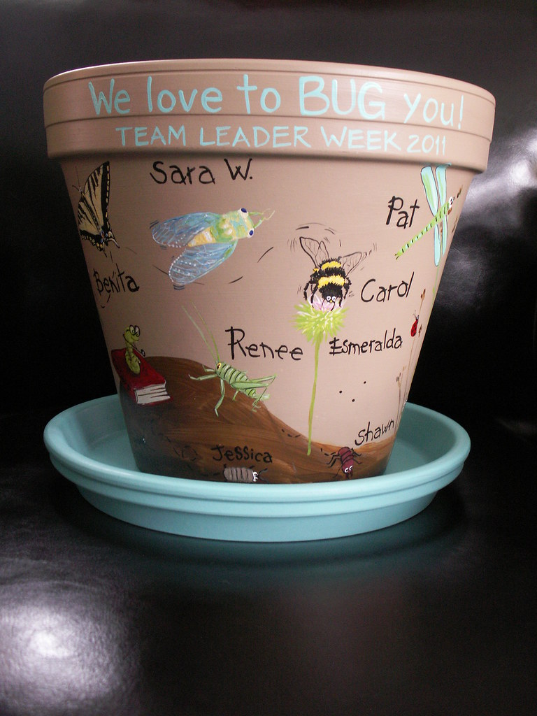 Hand painted flower pot (bug theme)