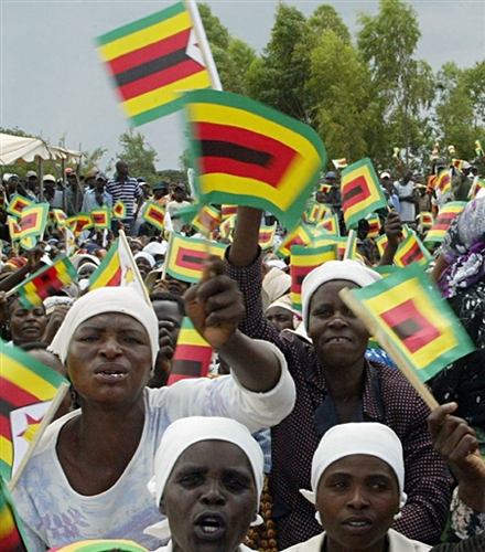 ZANU-PF supporters of President Robert Mugabe in Mahusekwa, south-east of the Zimbabwe capital of Harare. National elections were held on Saturday, March 29, 2008. by Pan-African News Wire File Photos