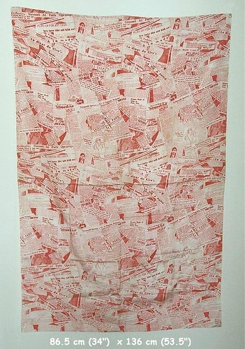 1930s Schiaparelli Red Silk Newsprint Fabric