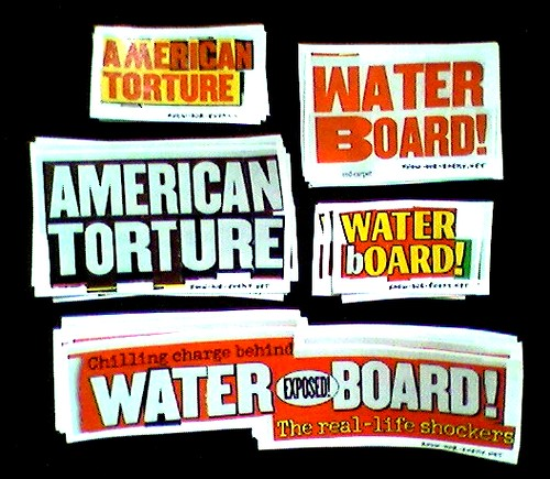 AMERICAN TORTURE and WATERBOARD! stickers