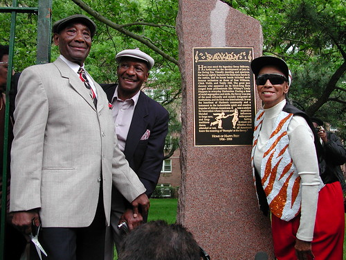Frankie Manning, Chazz Young and Norma Miller at the dedication of the savoy plaque