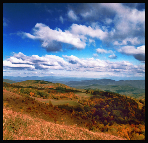 autumn sky mountains color fall leaves clouds forest mediumformat landscape 100iso agfaoptima hotspringsnc madisoncountync maxpatchnc