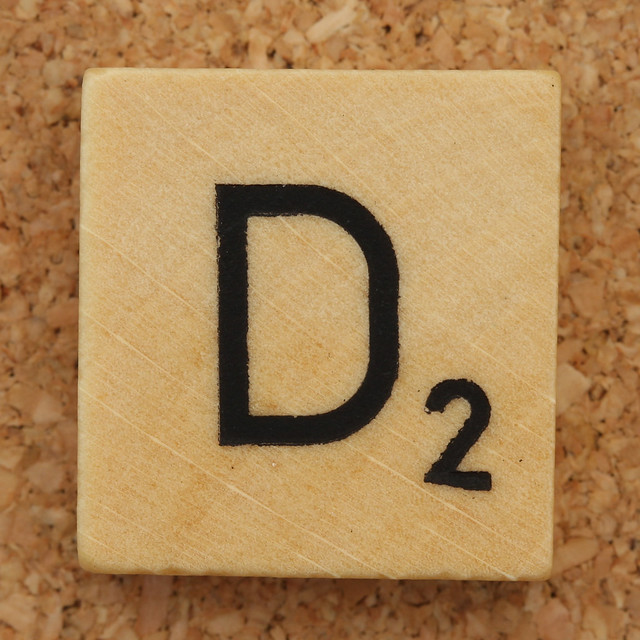 Wood Scrabble Tile D