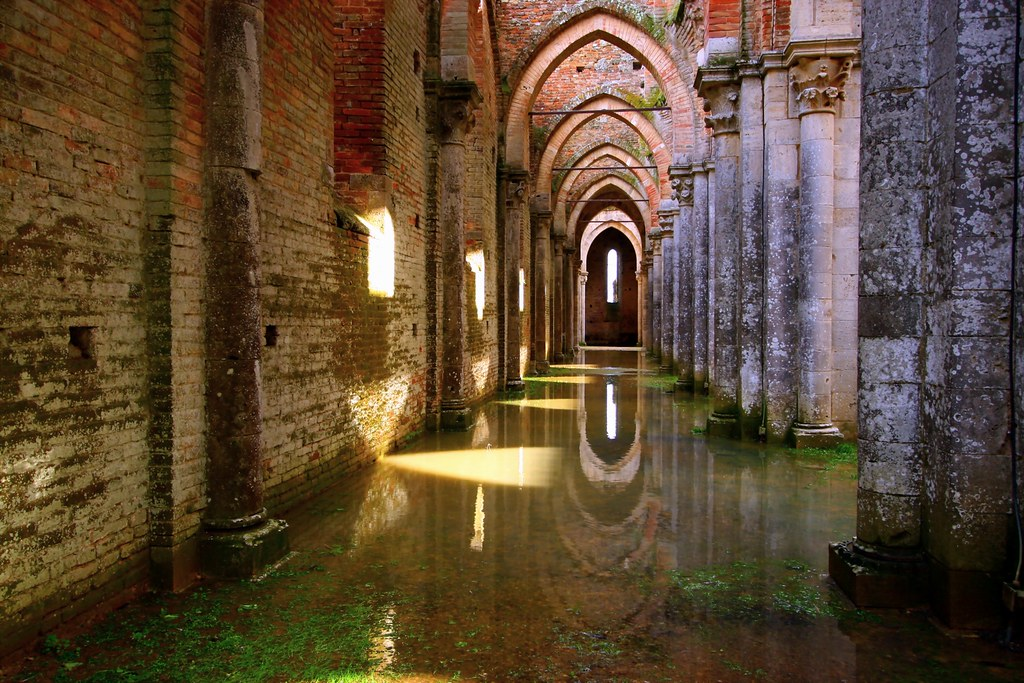 Ancient abbey and reflections