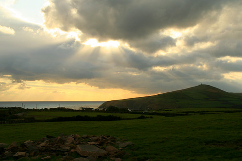 ireland sunset sky sun archaeology stone clouds writing wow ancient dingle kerry historic christian celtic fosse fa enclosure ballintaggart ogham supershot
