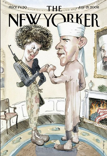 New Yorker cartoon cover w/Obamas