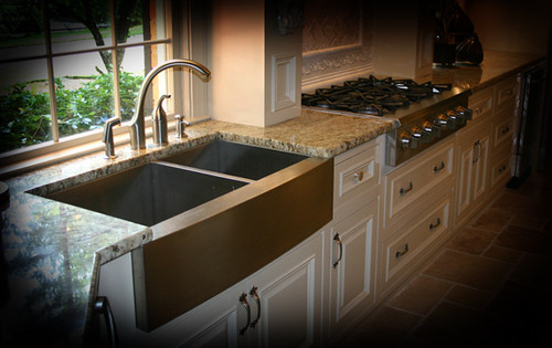Remodeled kitchen with Lavello Farmhouse sink curved apron front ...