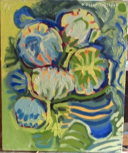 pintura oleo sobre tela flores