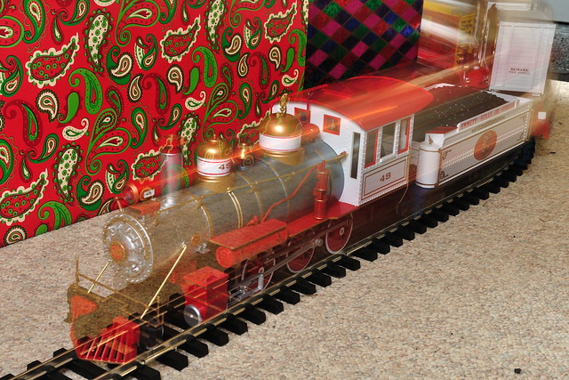 Circus train under the christmas tree i used rear curtain