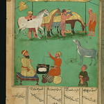 Illuminated Manuscript, Collection of poems (masnavi), A woodcutter's miserable donkey who envies the king's horses, fed with delicious grain, Walters Art Museum Ms. W.626, fol. 242a