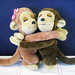 Vintage 1975 Dakin Hugging Love Monkey Stuffed Animal Set