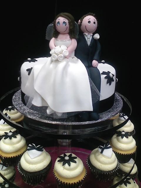close up of sugar bride and groom