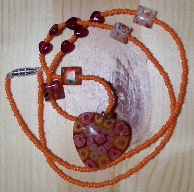 Sizzling Hot Orange and Red Millefiori Necklace