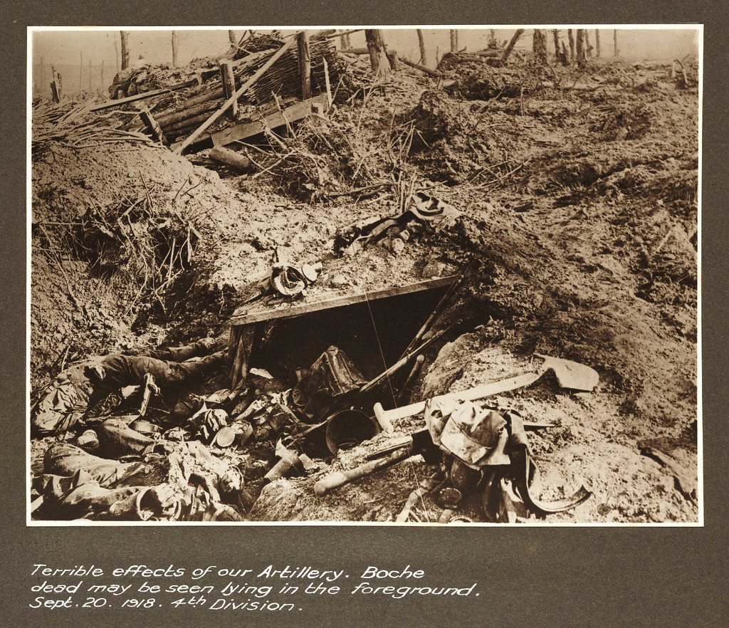 Terrible effects of our Artillery.Boche dead may be seen lying in the foreground. Sept 20 1918. 4th Division