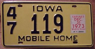 IOWA 1973 MOBILE HOME plate
