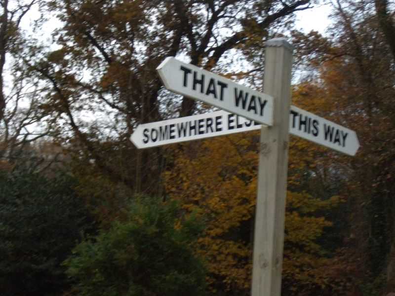 Helpful sign Guildford Circular via Chantries Hill