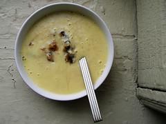 vegetable(0.0), cream of mushroom soup(0.0), produce(0.0), bisque(1.0), food(1.0), leek soup(1.0), dish(1.0), soup(1.0), cuisine(1.0),