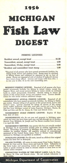 1956 michigan vintage fishing license law digest guide for Fishing license michigan