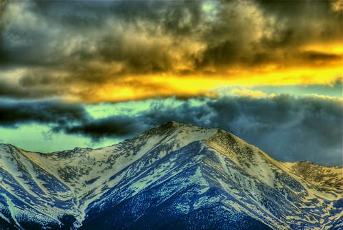 sunset mountain snow nature clouds landscape colorado buenavista fourteener hdr collegiatepeaks mountprinceton photomatix 200805 johnsonvillage