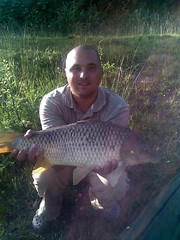 Danny with 14lb 2oz Common from Island Pool, caught on pop-up boilie over a bed of pellets - 7th June 08.