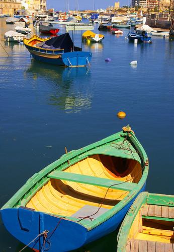 blue sea water yellow bay boat malta calm shore buoy stjulians buoyant colorphotoaward platinumheartaward spiritofphotography