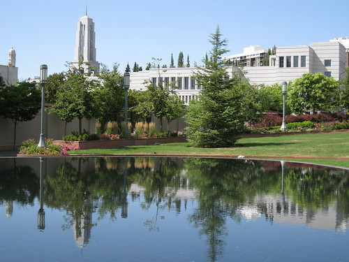 trees reflection water square temple utah spire saltlakecity templesquare conferencecenter ldschurch