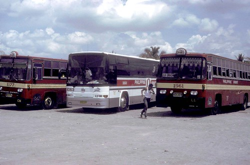 Philippine Rabbit Nissan Diesel (1177) UD Nissan CVK-918 (3063) and Isuzu CVC-327 (1561) bus station (terminal) Tarlac, Tarlac, Philippines.