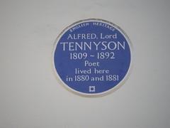 Photo of Alfred Tennyson blue plaque