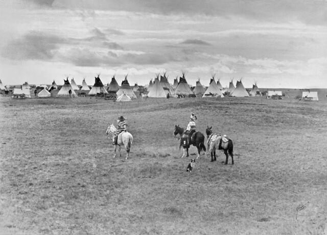 Aboriginal encampment near Calgary, AB, about 1925
